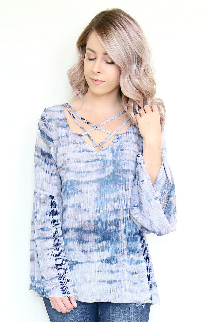 Tie Dye Bell Sleeve Lace Up Top