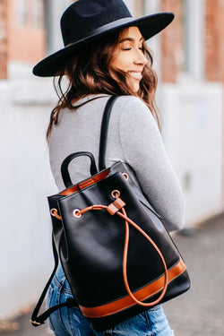 Black Brinley Faux Leather Backpack - Black - Madison and Mallory