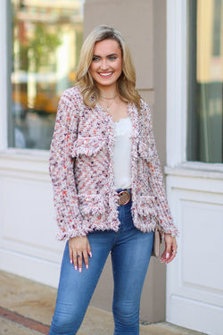 SM / Beige Chick Flick Fringe Cardigan - FINAL SALE - Madison and Mallory