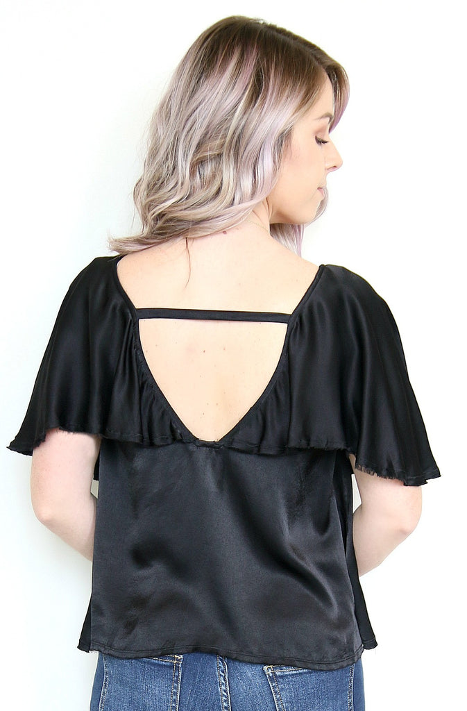 Silky Flutter Sleeve Cutout Top