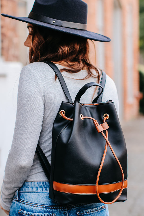 Brinley Faux Leather Backpack - Black - Madison + Mallory