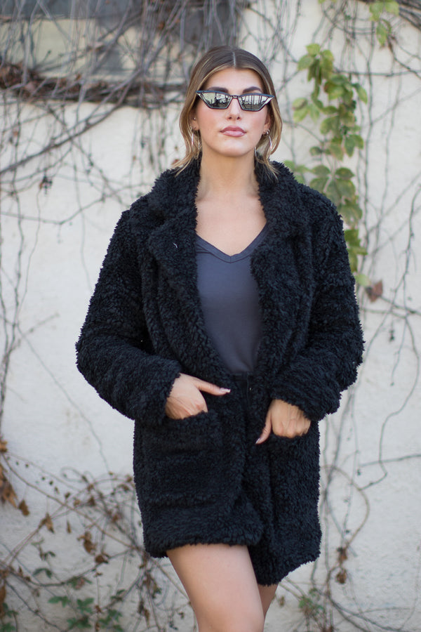 S / Black Cozy Vibes Fuzzy Jacket - Madison + Mallory