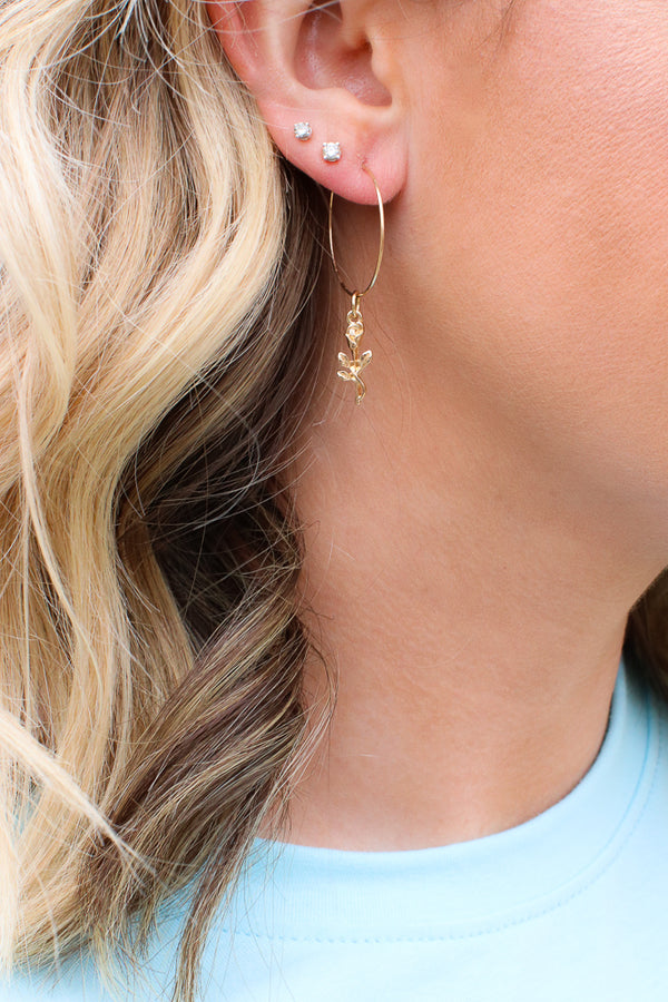 OS / Gold Memorable Magic Rose Charm Hoop Earrings + MORE COLORS - Madison + Mallory