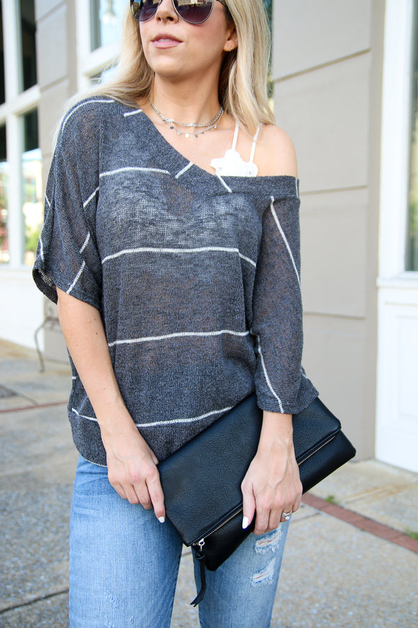 S / Charcoal Know the Way Striped Knit Top - Madison + Mallory