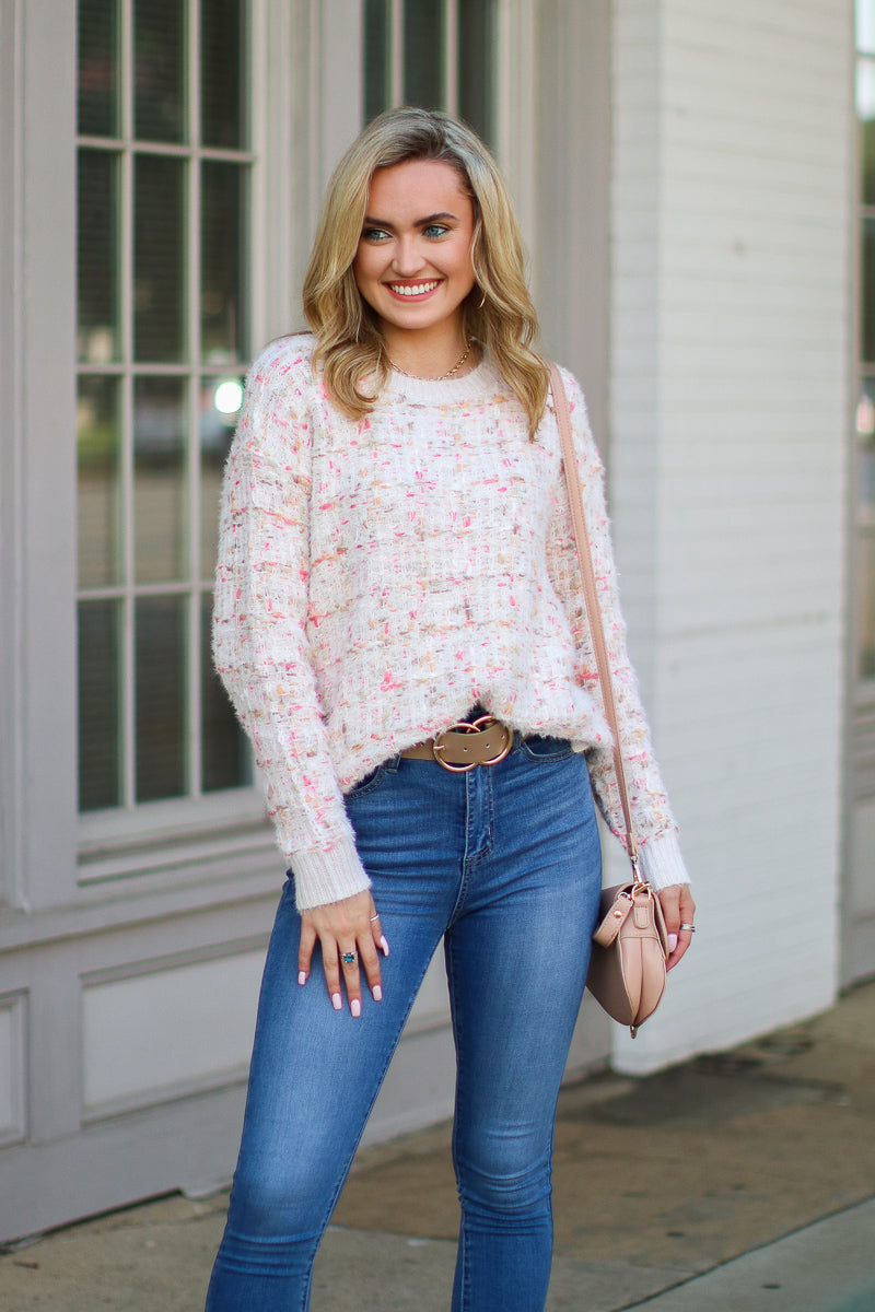 S / Oatmeal Totally Clueless Textured Knit Sweater - Madison + Mallory