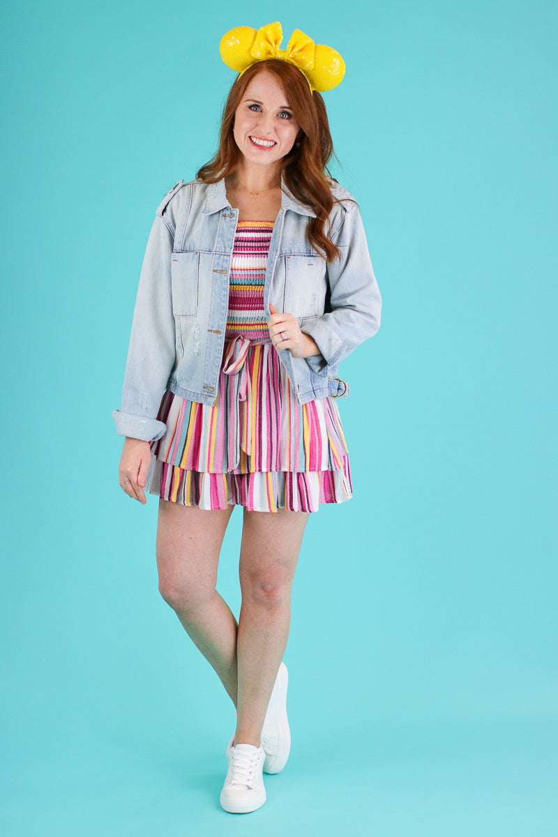 Spectacular Rainbow Stripe Ruffle Romper - Madison and Mallory
