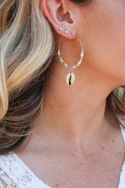 Gold Sun City Cowrie Shell Beaded Hoop Earrings - Madison + Mallory