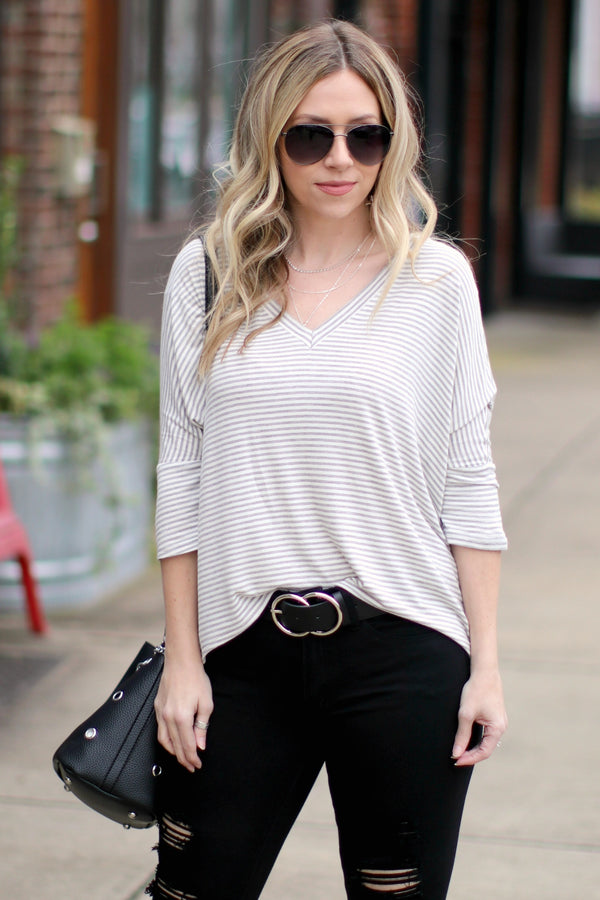 S / Gray Stay In Striped V-Neck Top - Madison + Mallory
