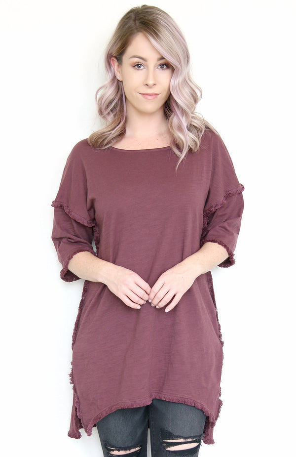 Wine / S High-Low Fringe Edge Tunic Top - Madison + Mallory