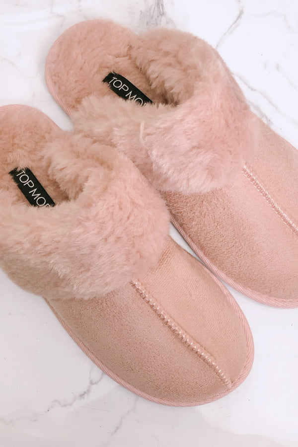 Blush / 5.5 Lazy Day Faux Fur Slippers - Madison and Mallory