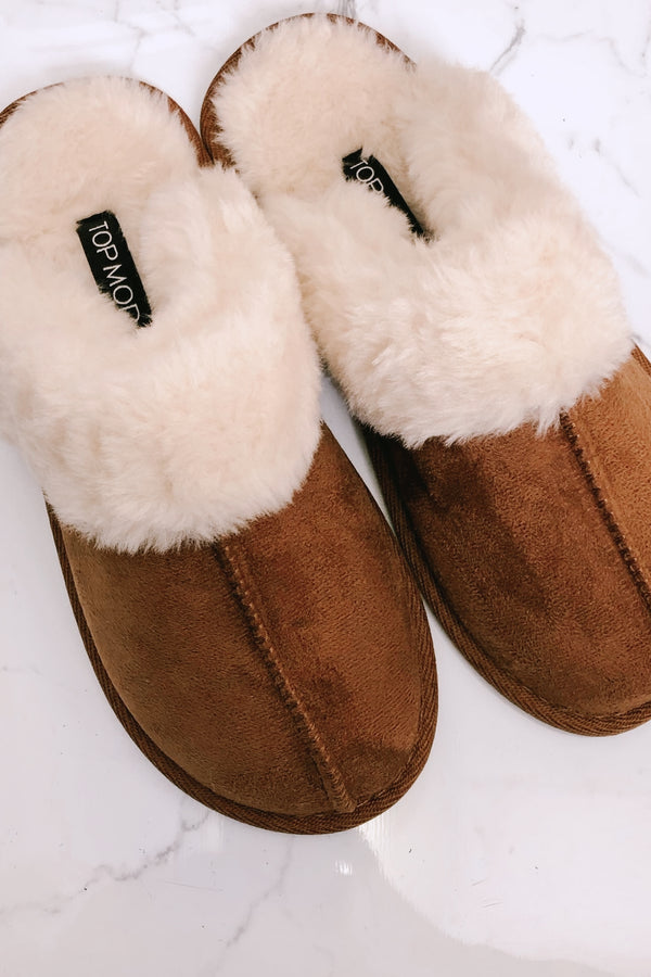 Tan / 5.5 Lazy Day Faux Fur Slippers - Madison and Mallory