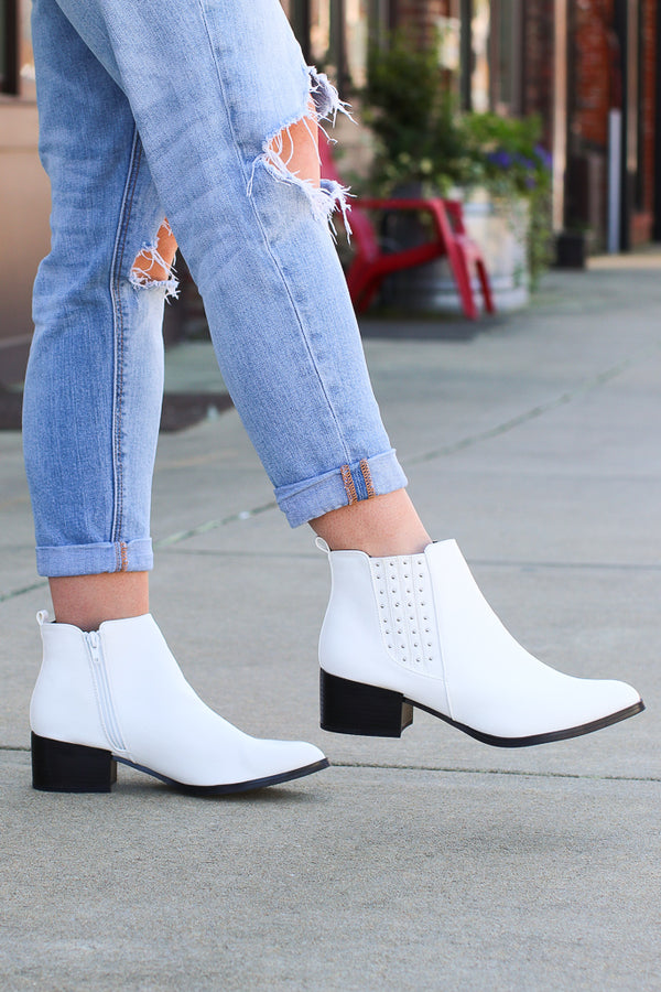 Take a Chance White Studded Booties - Madison + Mallory