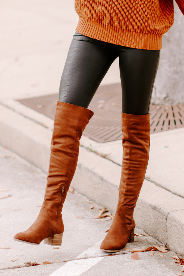 Tan / 5.5 Caprice Faux Suede Over the Knee Boots - Madison and Mallory