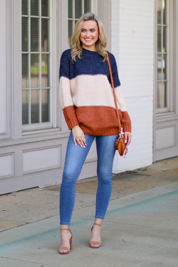 Borderline Color Block Knit Sweater | CURVE - Madison + Mallory