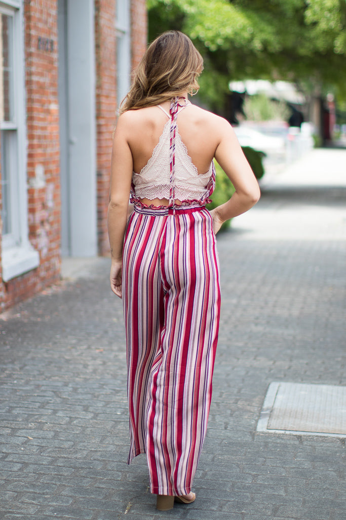 Striped Halter Jumpsuit - Madison + Mallory