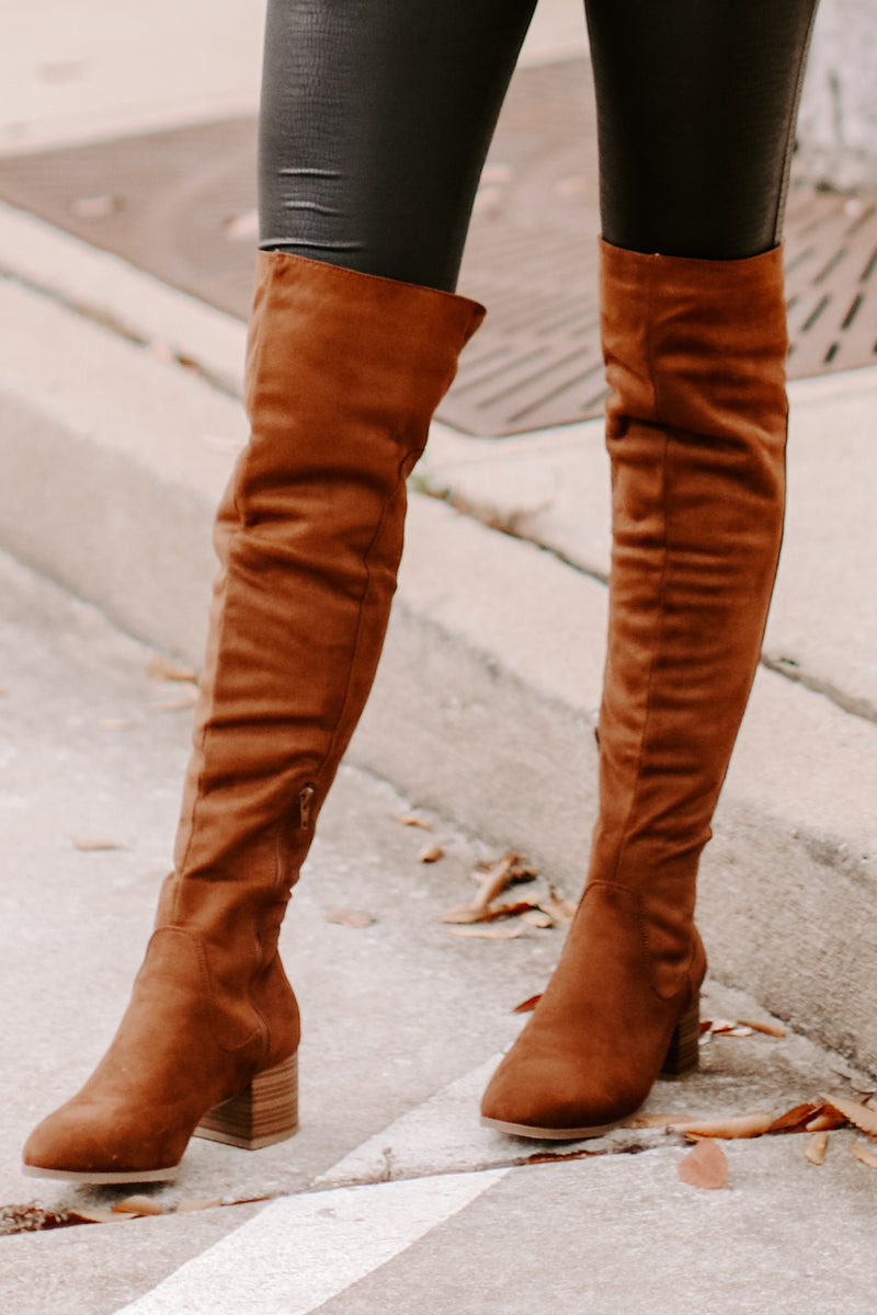 Caprice Faux Suede Over the Knee Boots - Madison and Mallory
