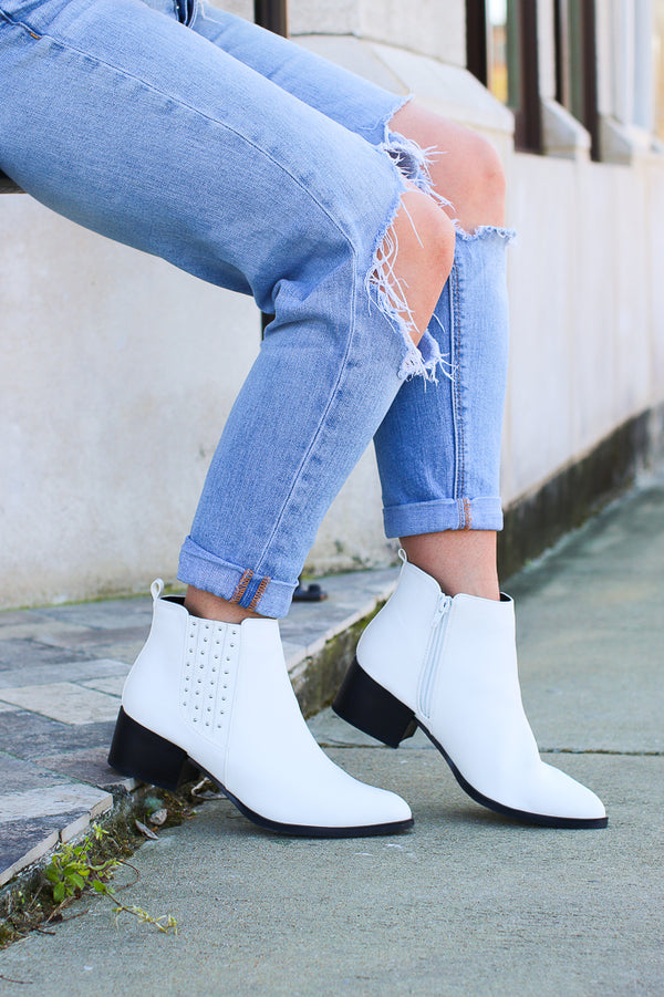 6 / White Take a Chance White Studded Booties - Madison + Mallory