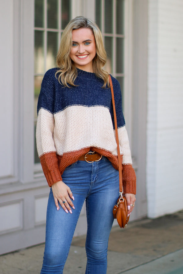 S / Navy Borderline Color Block Knit Sweater | CURVE - Madison + Mallory