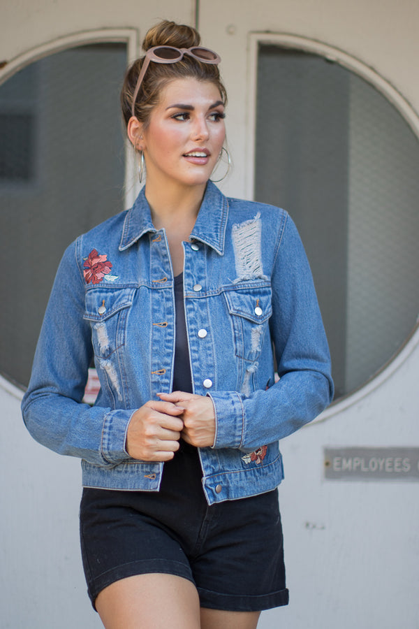 Floral Distressed Embroidered Denim Jacket - Madison + Mallory