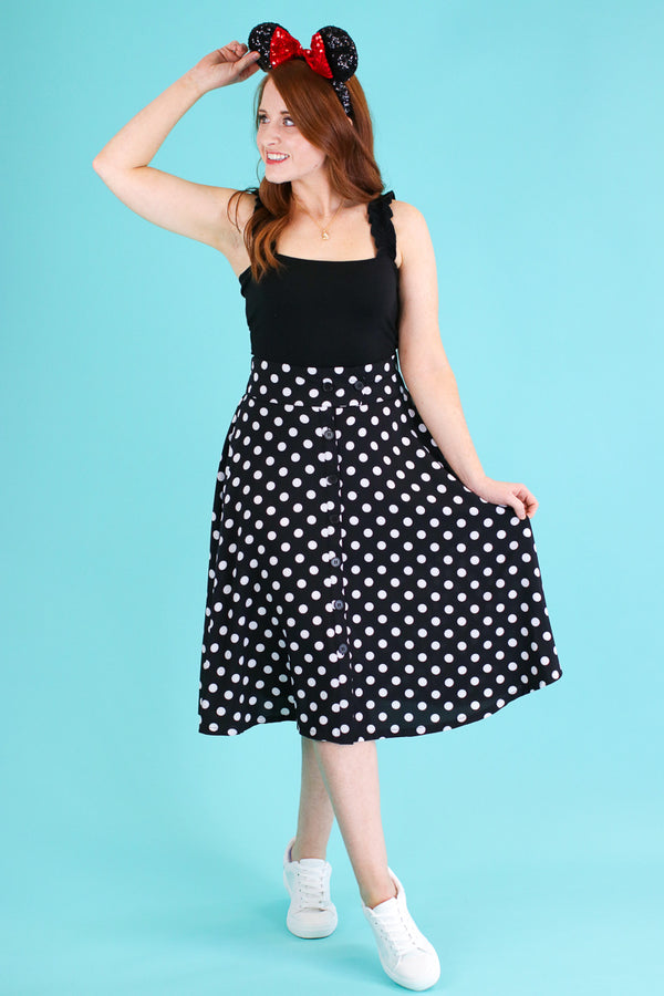 L / Black Dots of You Polka Dot Skirt - FINAL SALE - Madison and Mallory