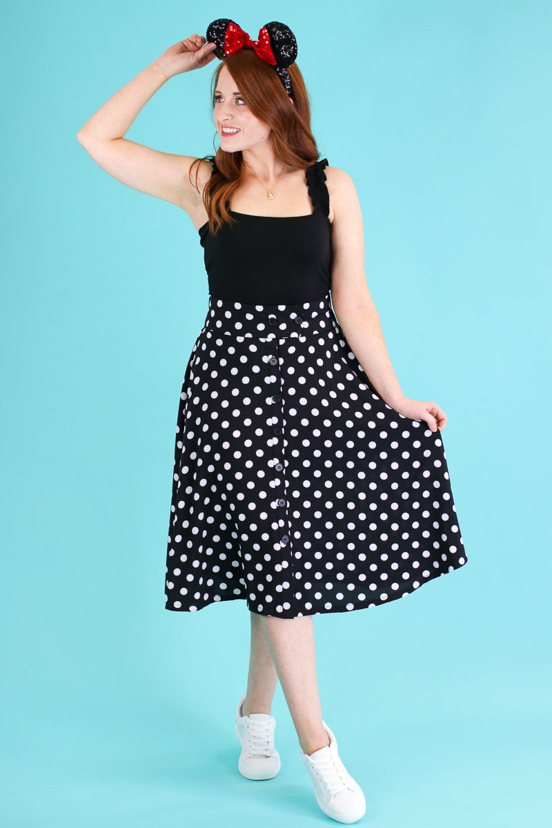L / Black Dots of You Polka Dot Skirt - Madison and Mallory