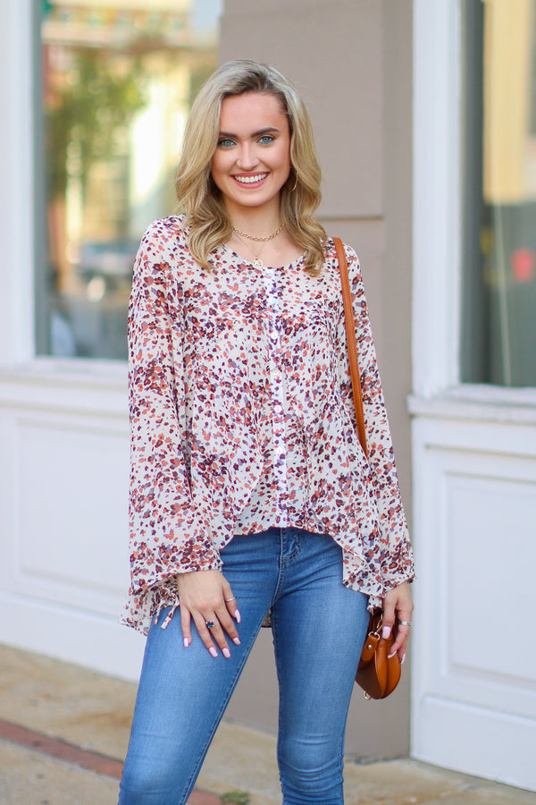 S / Taupe Blooming Love Ruffle Floral Top - Madison + Mallory