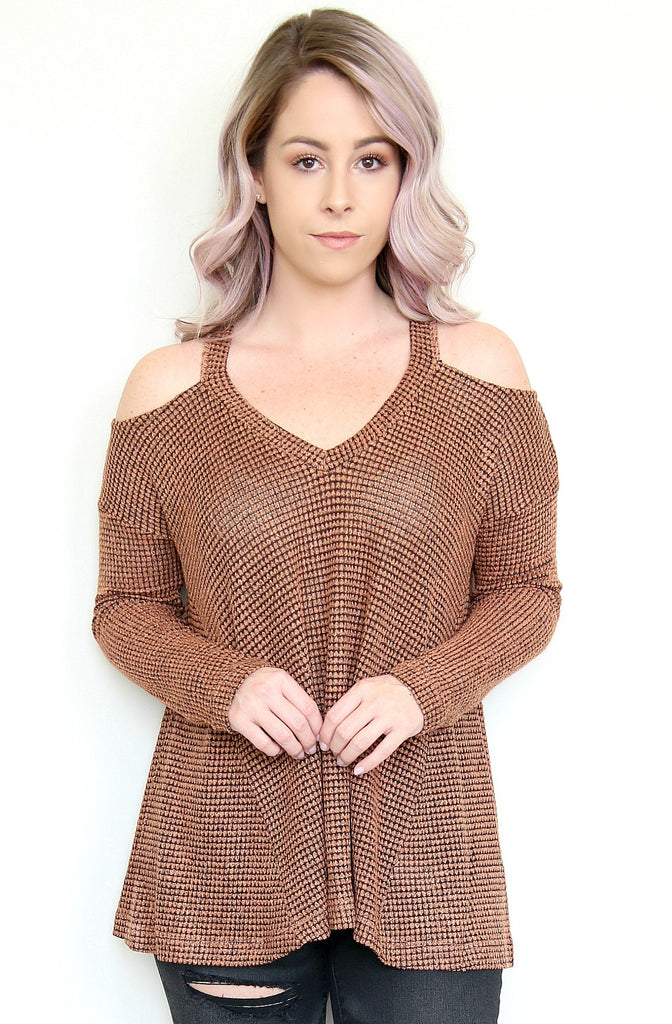 Cold Shoulder Waffle Knit Top