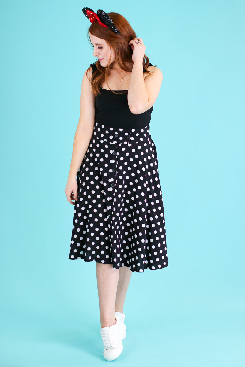 S / Black Dots of You Polka Dot Skirt - Madison and Mallory