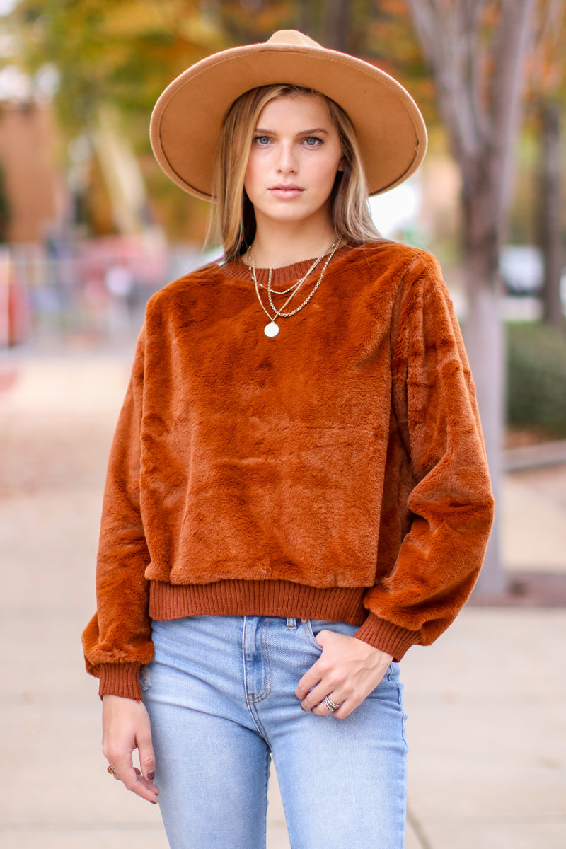 Hendon Faux Fur Pullover - FINAL SALE - Madison and Mallory