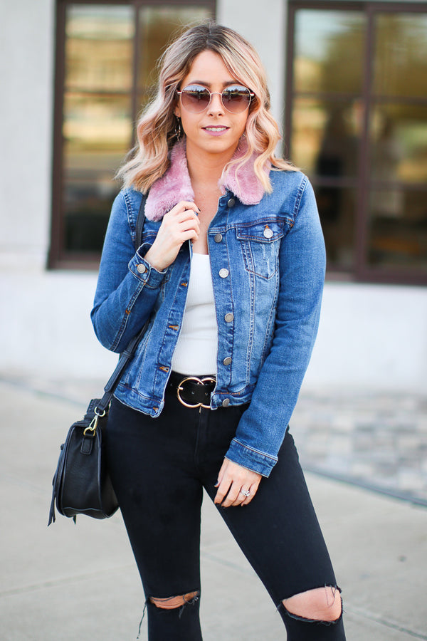S / Blush Coffee Run Denim Jacket - Blush - Madison + Mallory