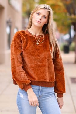 Almond / S Hendon Faux Fur Pullover - FINAL SALE - Madison and Mallory