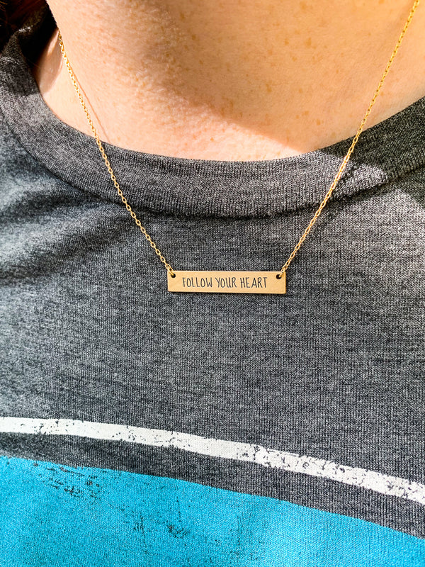 Follow Your Heart Bar Necklace - Madison + Mallory