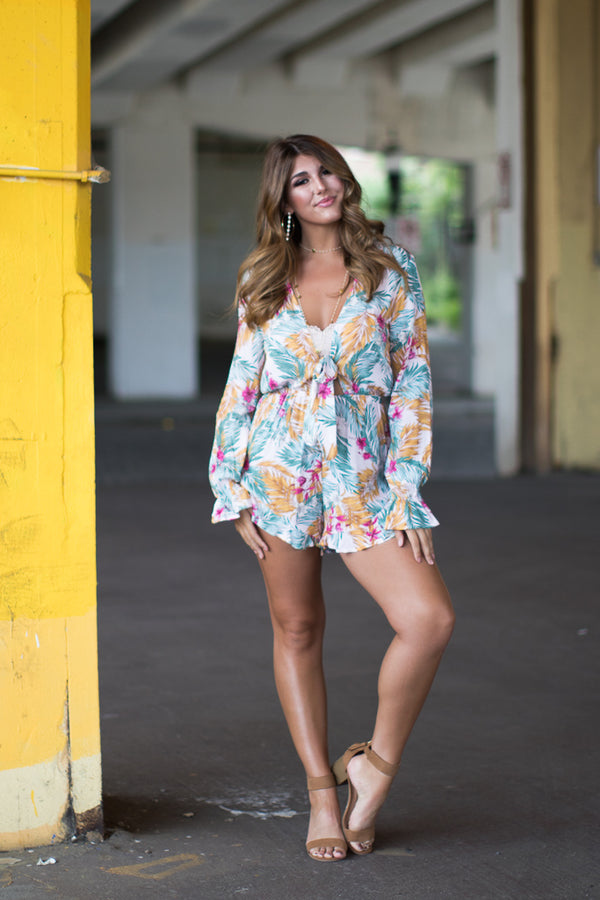 S / Tropical Palm Print Long Sleeve Romper - Madison + Mallory