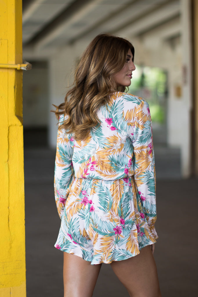 Palm Print Long Sleeve Romper - Madison + Mallory