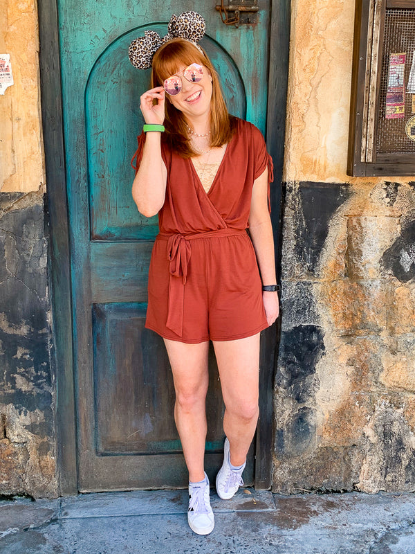 Brick / S Kalindi Drawstring Knit Romper - Brick - Madison + Mallory