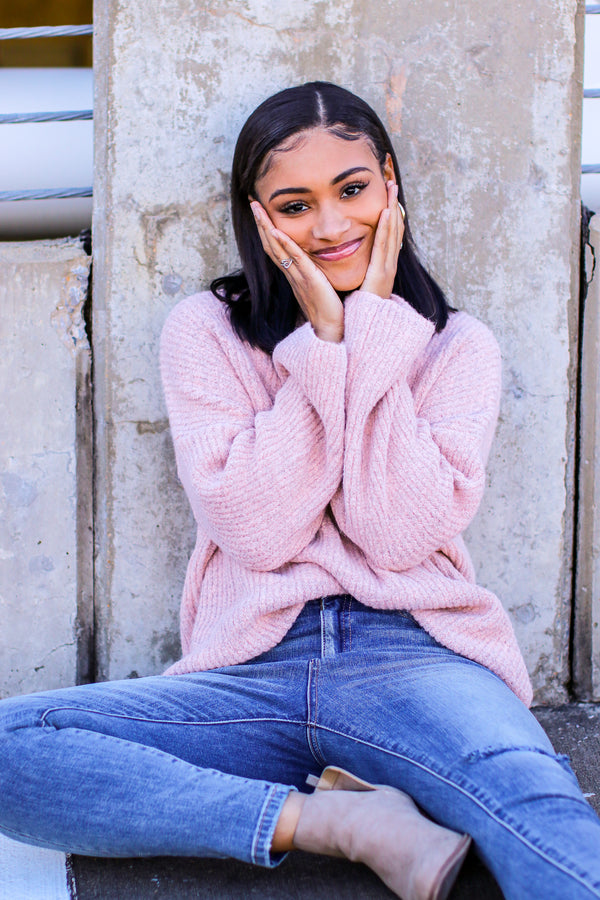 S / Pastel Pink Shelbiana Bell Sleeve Knit Sweater - Madison and Mallory