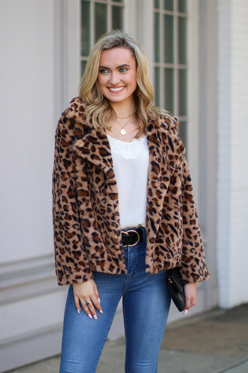 S / Mocha Prowl Power Leopard Faux Fur Jacket - FINAL SALE - Madison and Mallory