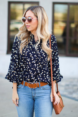 S / Navy Birds of a Feather Top - Madison + Mallory