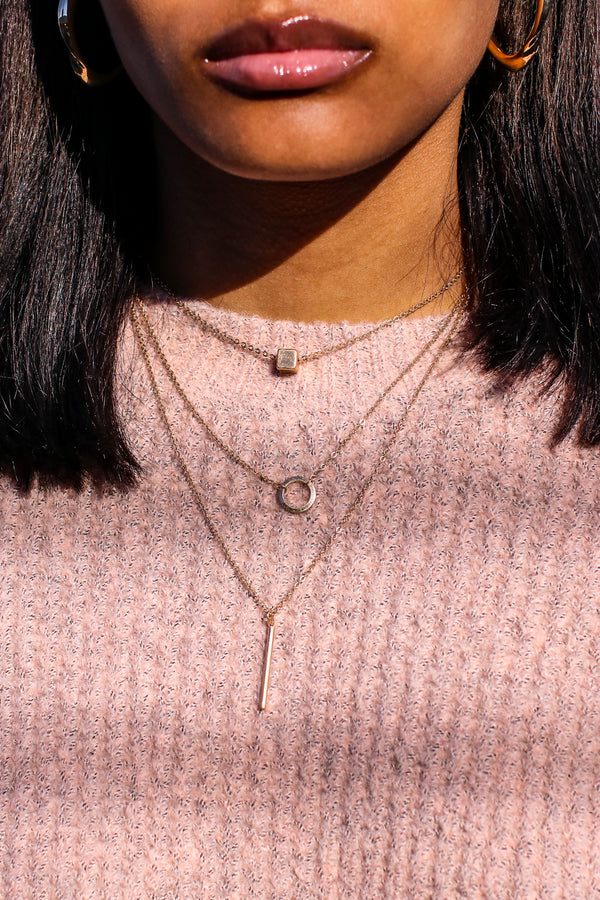 Gold Sundown Geometric Layered Necklace - Madison and Mallory