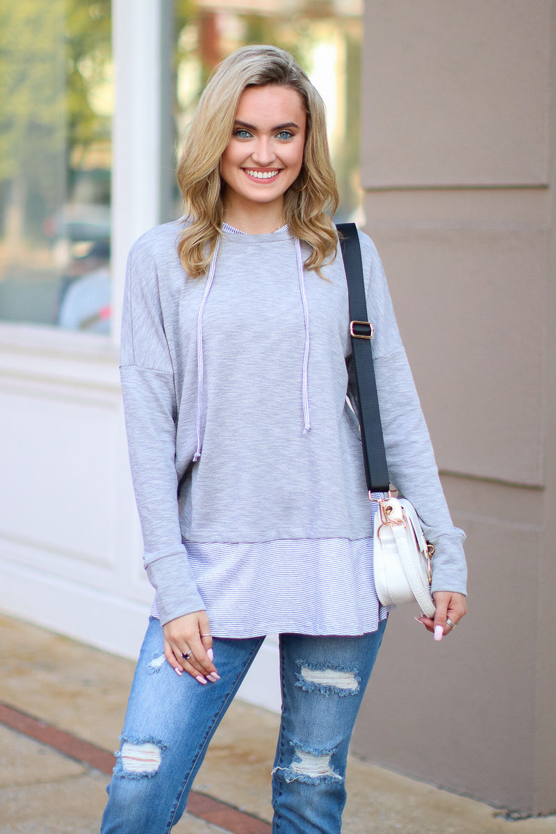 S / Gray Griffith Layered Hoodie Top - Madison + Mallory