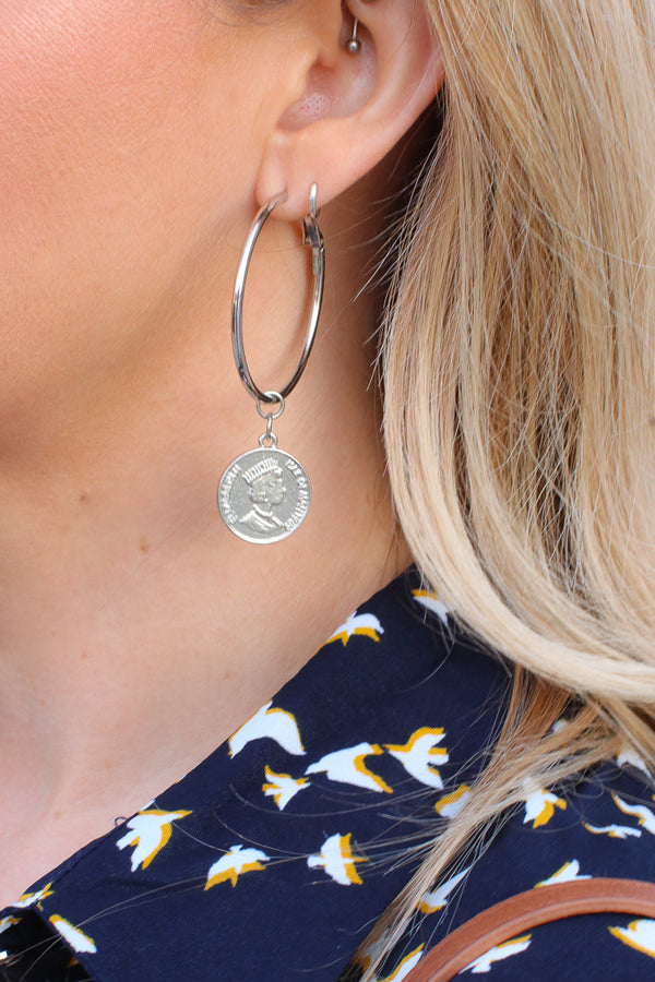 OS / Silver Treasure Hunt Coin Earrings - Madison + Mallory