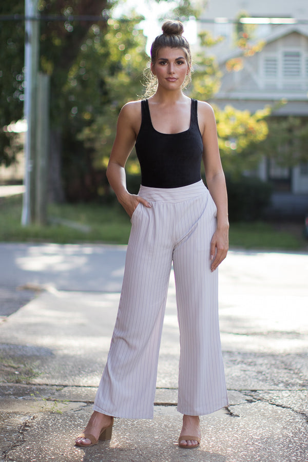 S / Taupe Emmaline Striped Pants - Madison + Mallory