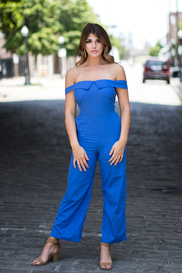 S / Cobalt Always Love You Jumpsuit - Madison + Mallory