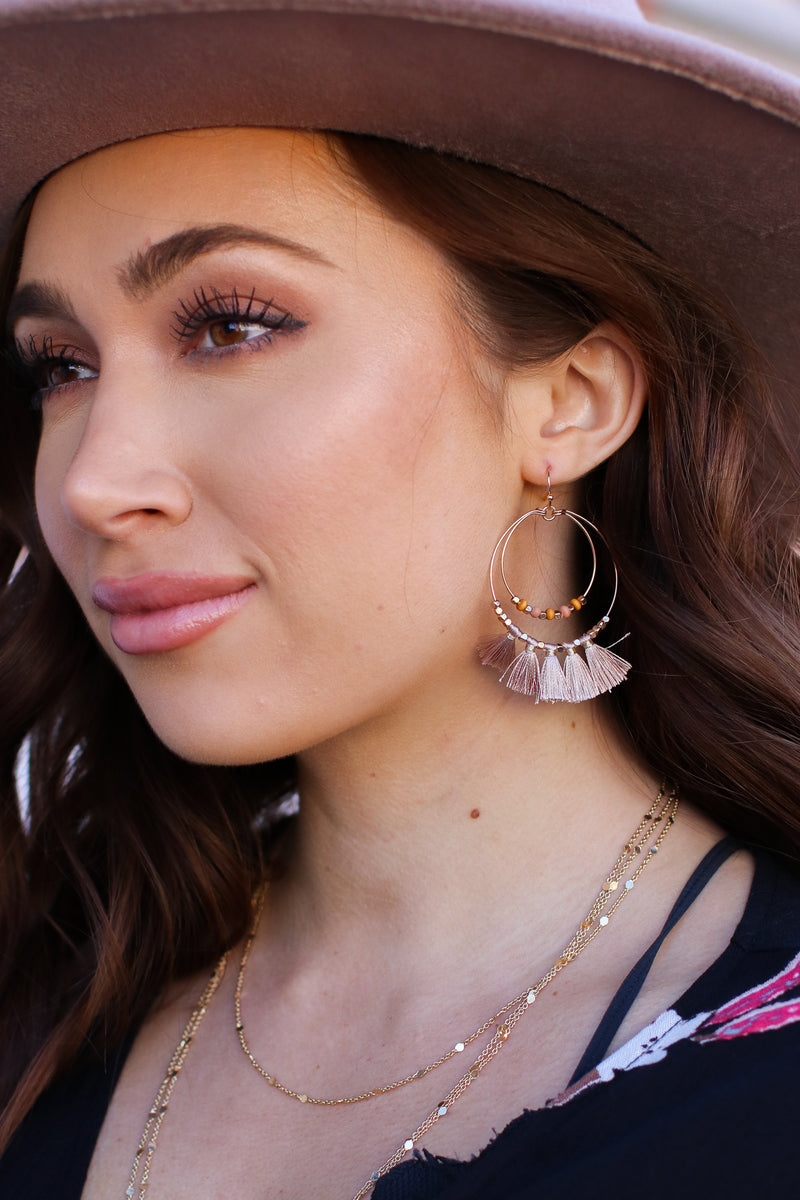 Taupe Beautiful Drama Beaded Tassel Earrings - Taupe - Madison and Mallory