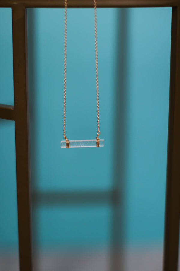 OS / Clear Stone Bar Pendant Necklace - Madison + Mallory