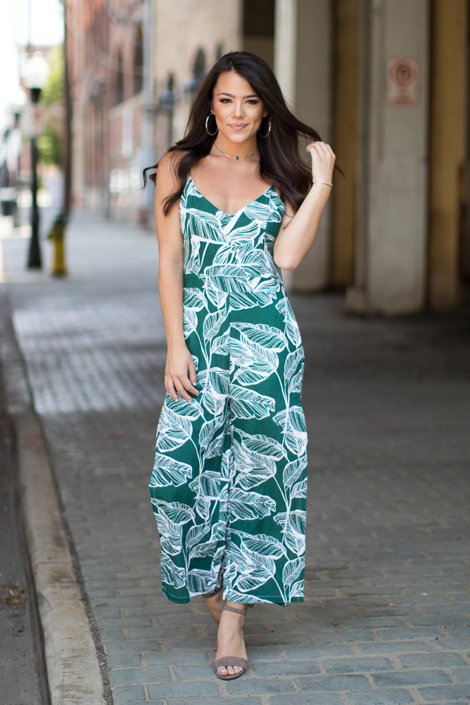 S / Green Palm Paradise Jumpsuit - Madison + Mallory