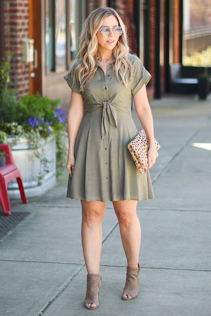 Name of Love Button Down Tie Shirt Dress - Madison + Mallory