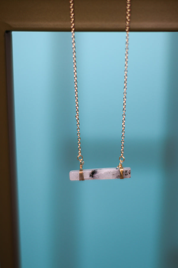 OS / Gray Stone Bar Pendant Necklace - Madison + Mallory