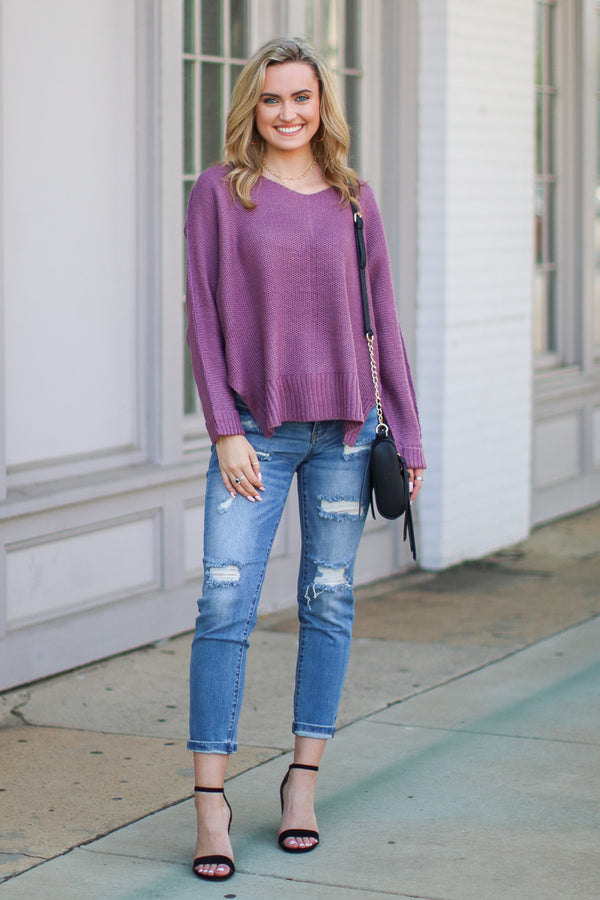 Shaely High Low Knit Sweater - Lavender - Madison + Mallory