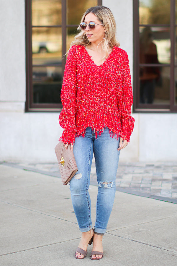 Something More Multi Color Frayed Sweater - Madison + Mallory